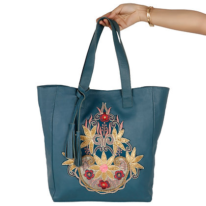 LEATHER HAND EMBROIDERED TOTE BAG