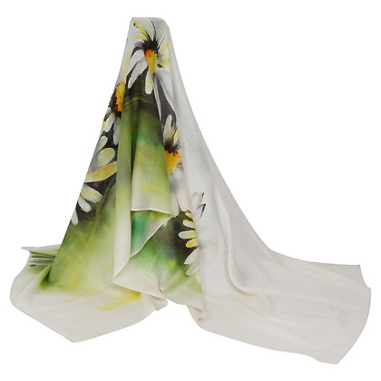 HAND PAINTED WOOLEN DAISY SCARF (MADE TO ORDER)