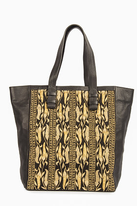 LEATHER TOTE BAG WITH GOLDEN EMBROIDERY