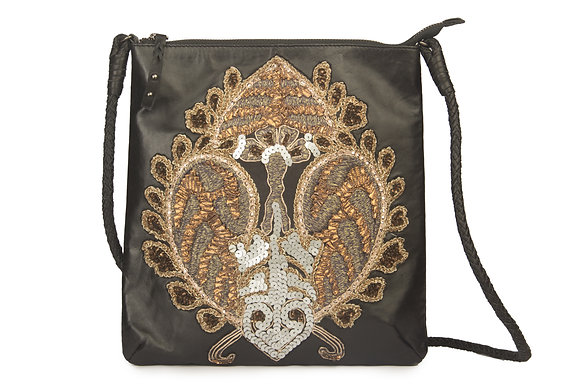 LEATHER CROSS BODY BAG WITH VINTAGE EMBROIDERY