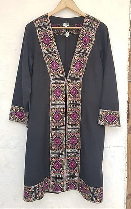 TRISHA LONG EMBROIDERED LINEN JACKET(MADE TO ORDER)