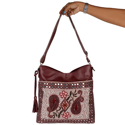 VINTAGE EMBROIDERY LEATHER TOTE BAG
