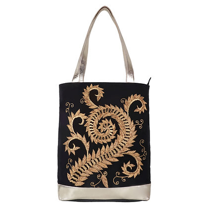CLASSIC VINTAGE LEATHER EMBROIDERED TOTE BAG