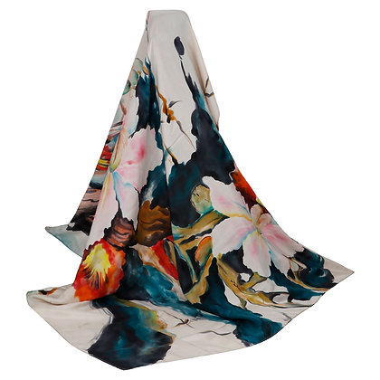 TABY SILK FLORAL MOTIF HAND PAINTED SCARF (MADE TO ORDER)