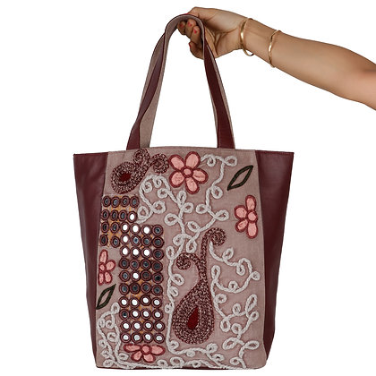 CORD AND MIRROR WORK LEATHER TOTE BAG