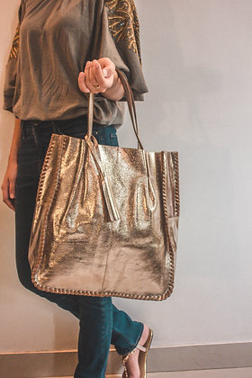 GOLDEN LEATHER TOTE BAG