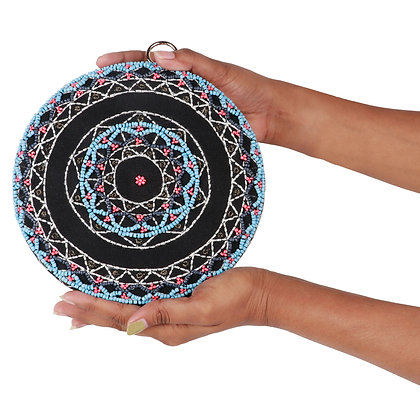 BEADED  ROUND CLUTCH BAG