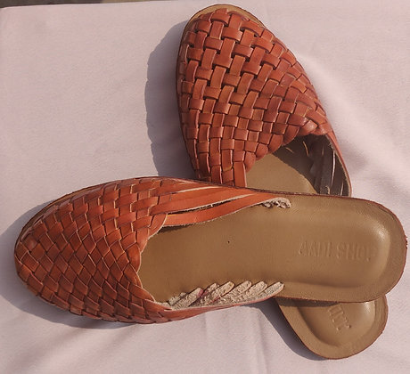 TAN WEAVED LEATHER SLIP ON