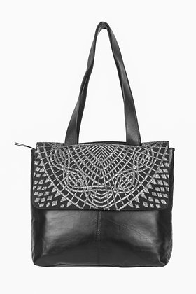 BLACK LEATHER BAG WITH ANTIQUE SILVER GOTA WORK