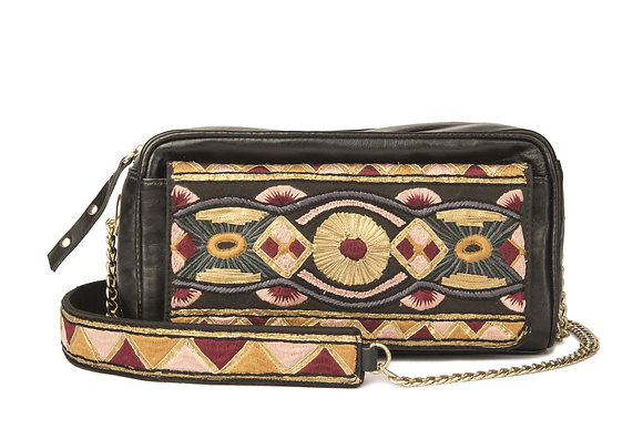 BLACK LEATHER BOX SLING EMBROIDERED BAG