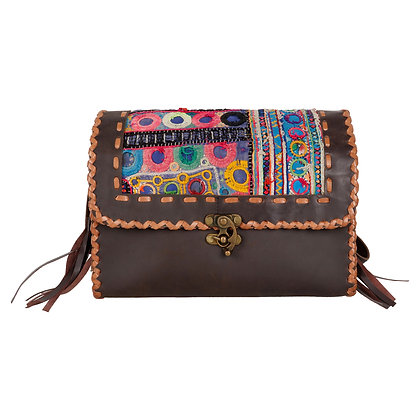 VINTAGE EMBROIDERY LEATHER BOX SLING BAG