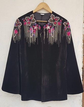 NAIRA COTTON VELVET HAND EMBROIDERED JACKET (MADE TO ORDER)