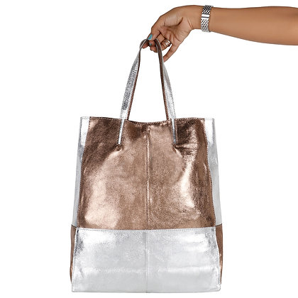 SILVER AND GOLD LEATHER TOTE BAG