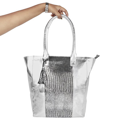 FAUX LEATHER SILVER TOTE BAG
