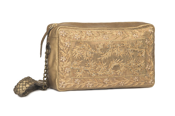 GOLD LEATHER EMBROIDERED SLING BAG