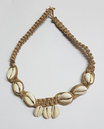 ANA SOFT JUTE NECK PIECE BRAIDED WITH SHELL