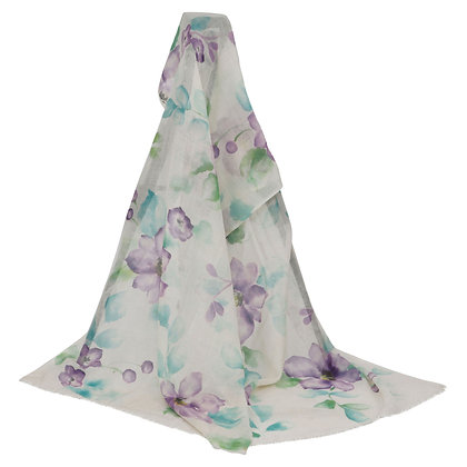 LILAC FLORAL WOOLEN  HAND PAINTED SCARF (MADE TO ORDER)