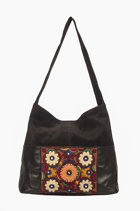 EMBROIDERED BLACK SUEDE HAND BAG