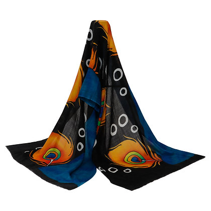 PEACOCK MOTIF WOOLEN SCARF (MADE TO ORDER)