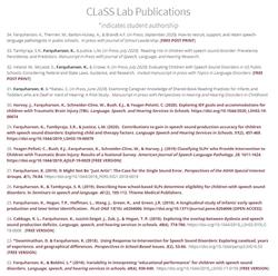 CLaSS Lab Publications