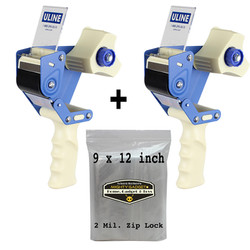 Mighty Gadget 4 pk 9x12 Zip Lock Bags + 2 Uline H-150 Tape Dispenser