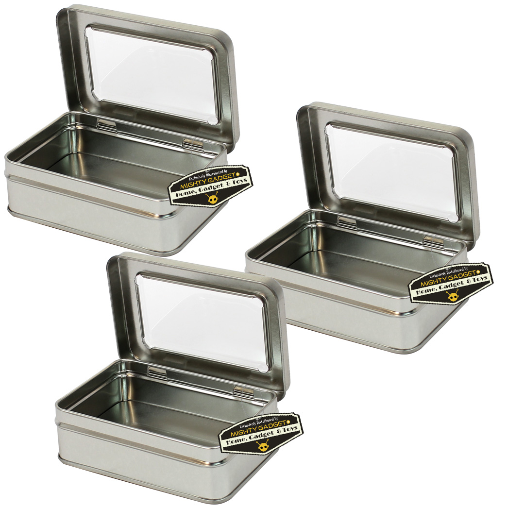 Mighty Gadget Three of 4.125 x 2.75 Rect Hinge Tins w Window