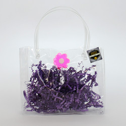 Mighty Gadget Birthday Party Gift Favor Clear Soft Vinyl Tube Handle Bag w Flower Snap Button 6.25_