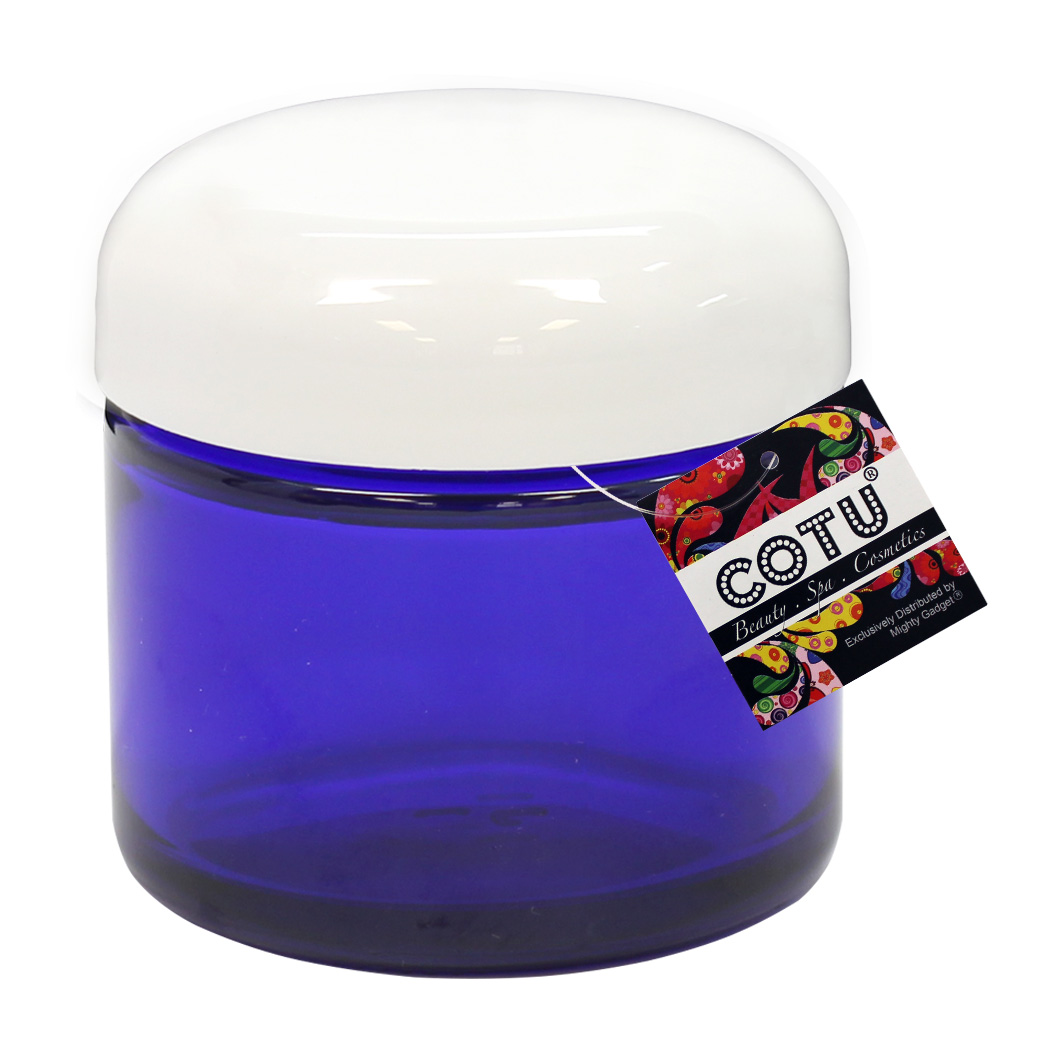 2oz COTU Cobalt Blue Jars w White Dome Lids 2