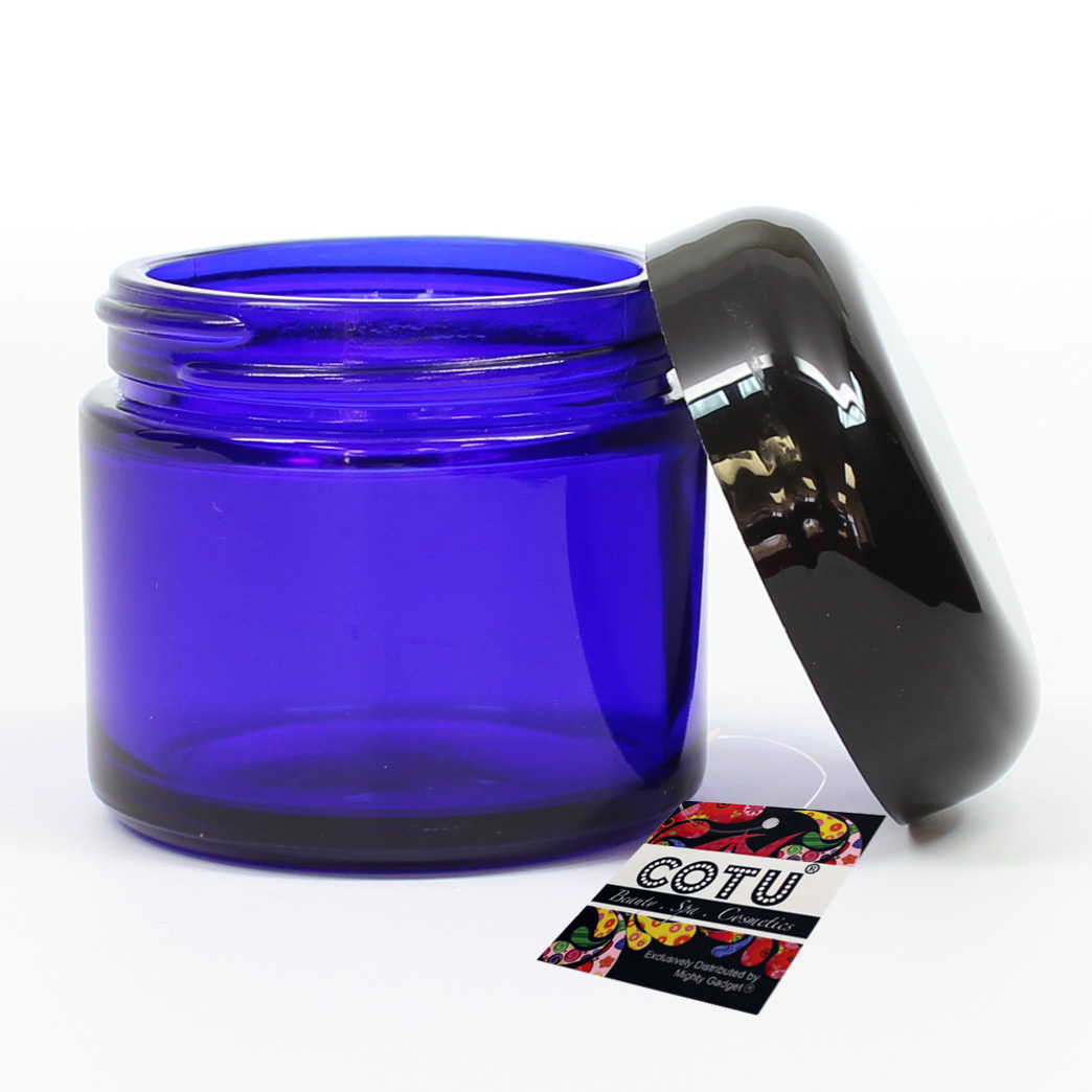 3 x 2oz COTU Cobalt Blue Jars w Black Lids 4