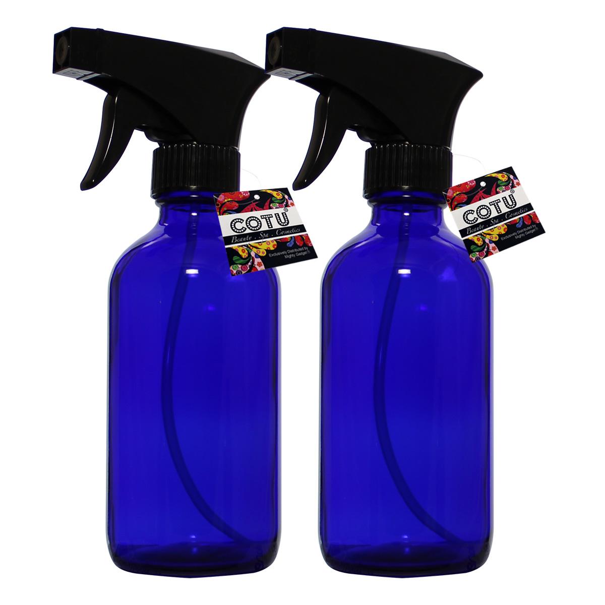 2 x 8oz Cobalt Blue Glass Bottle w Trigger Spray 1
