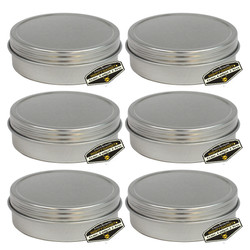 6 Pack of Mighty Gadget Screw Top Round Steel Tin Cans 2 oz
