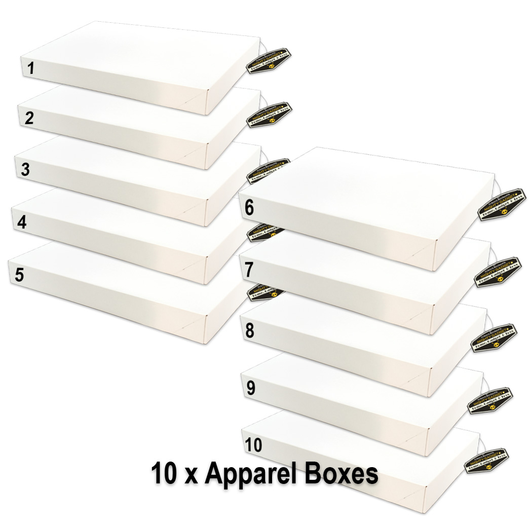 Mighty Gadget 10 x White Gloss Apparel Boxes
