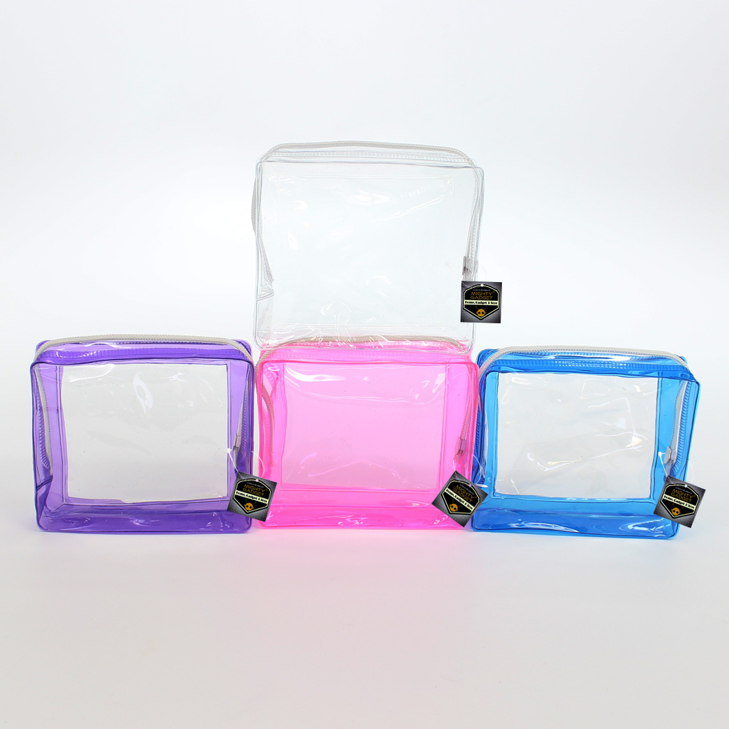 Mighty Gadget 4 Pack Mini Clear Soft PVC Vinyl Pouch Bag with Colored Frames