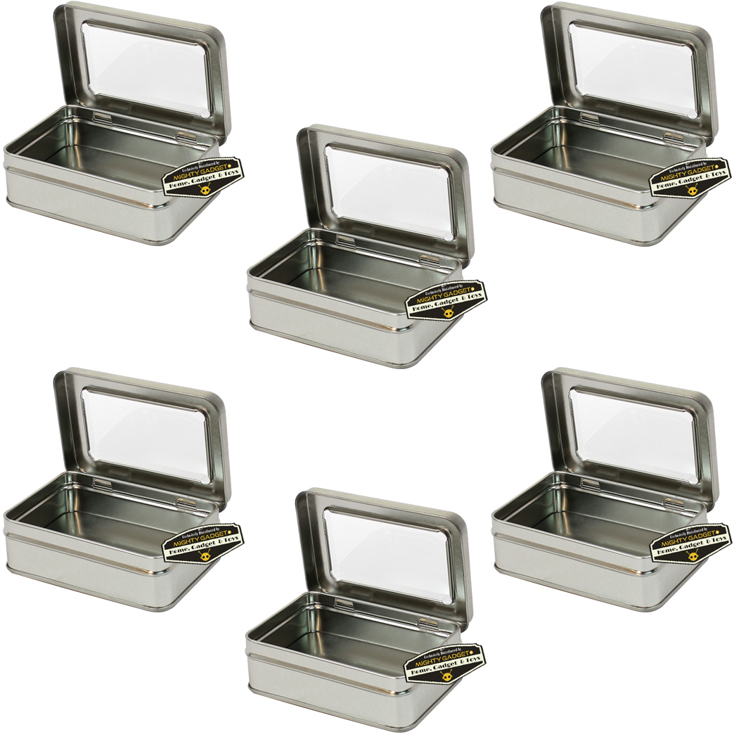 Mighty Gadget Six of 4.125 x 2.75 Rect Hinge Tins w Window