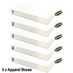 Mighty Gadget 5 x White Gloss Apparel Boxes