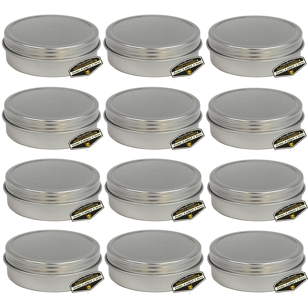 12 Pack of Mighty Gadget Screw Top Round Steel Tin Cans 1 oz