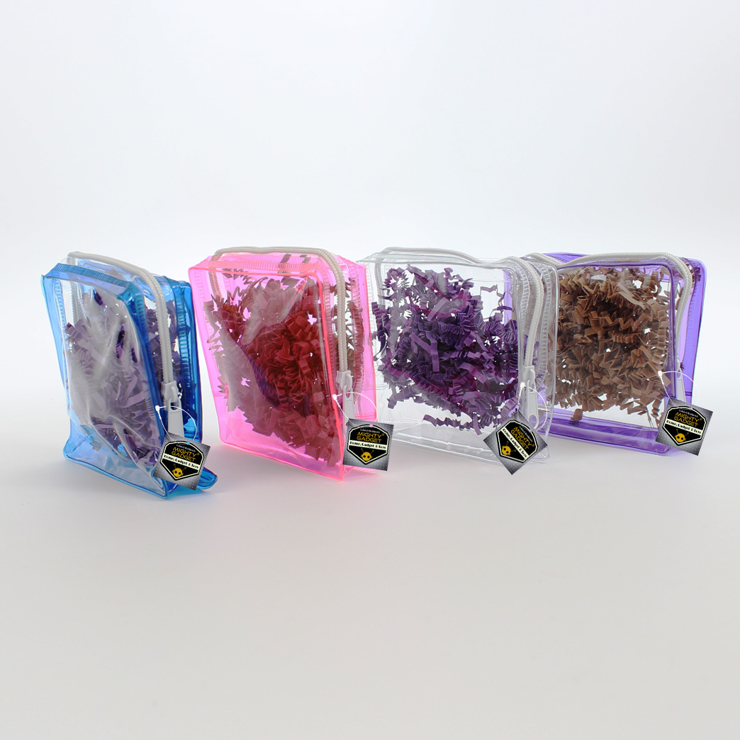 Mighty Gadget 4 Pack Mini Clear Soft PVC Vinyl Pouch Bag with Colored Frames 2