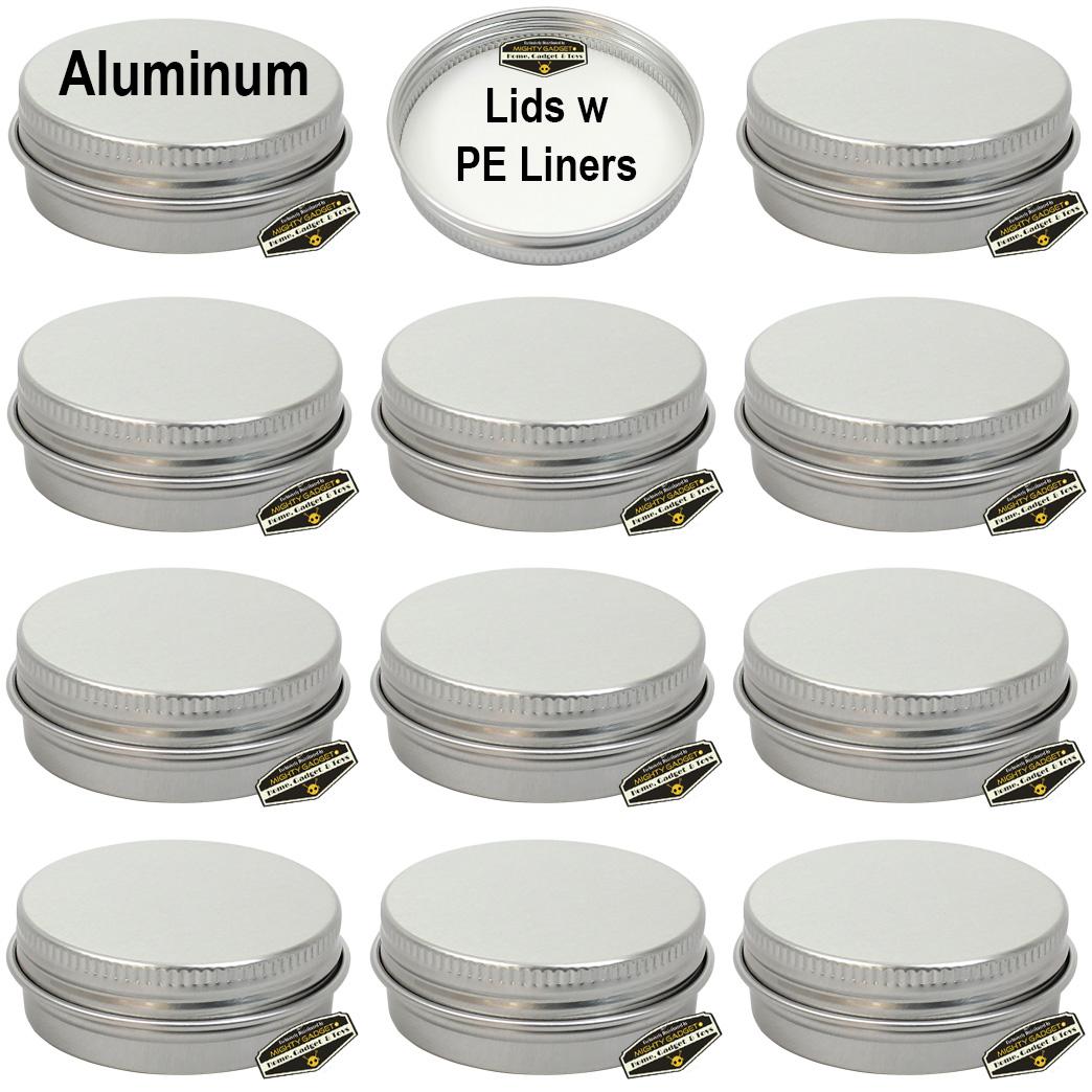 Mighty Gadget 12 x 1 oz Aluminum Tins w PE Liners Lids 1