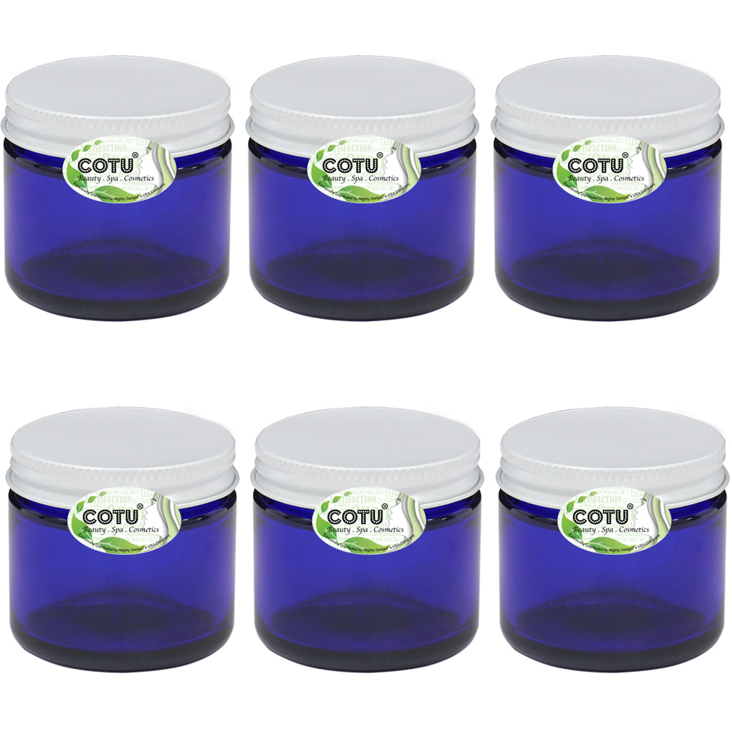 6 x 2oz COTU Cobalt Blue Jars w White Metal Lids 1