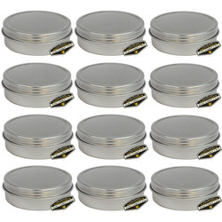 12 Pack of Mighty Gadget Screw Top Round Steel Tin Cans 2 oz