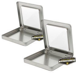 Mighty Gadget Two of 3.75 x 3.75 Square Hinge Tins with Window 1