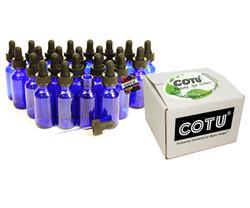 24 x 1oz Cobalt Blue Bottles w Eye Droppers w Box