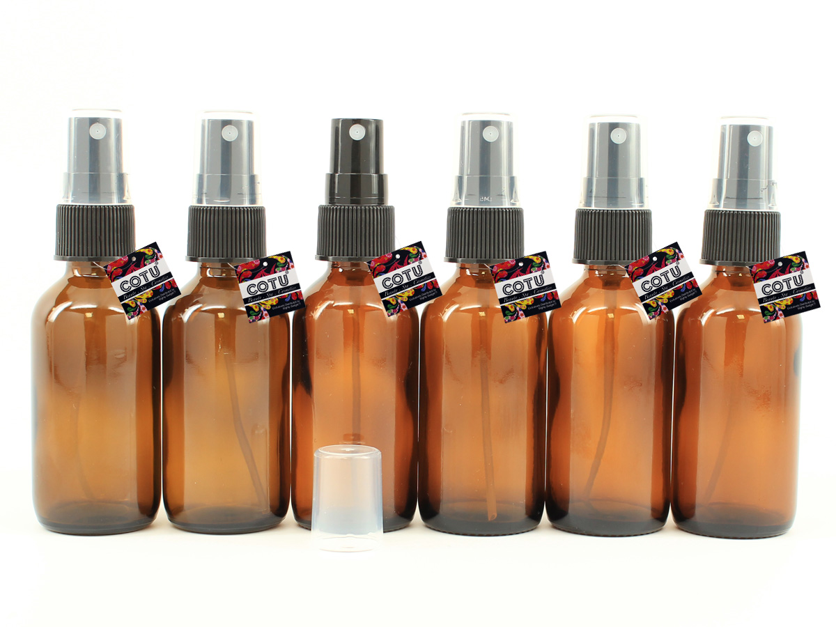 6 x 2oz Amber Glass Bottle w Black Fine Mist Sprayer