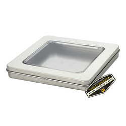 Mighty Gadget Two of 3.75 x 3.75 Square Hinge Tins with Window 2