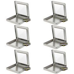 Mighty Gadget Six of 3.75 x 3.75 Square Hinge Tins with Window 1