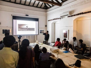 Wendell Rodricks talking to our students about Goa as an inspritional place for creative work.