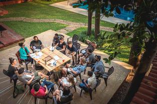 Bieke Depoorter - Magnum photographer conducting an outdoor class at our campus.