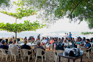 Presentation and talk by participating International and Indian photograohers during an outdoor secession by the Mandovi River in Panjim, Goa.