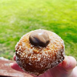 Sourdough donuts with chocolate custard