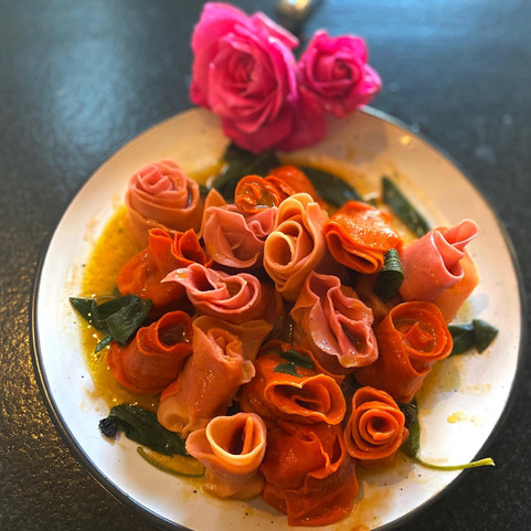 Infused Pasta Roses with sage butter
